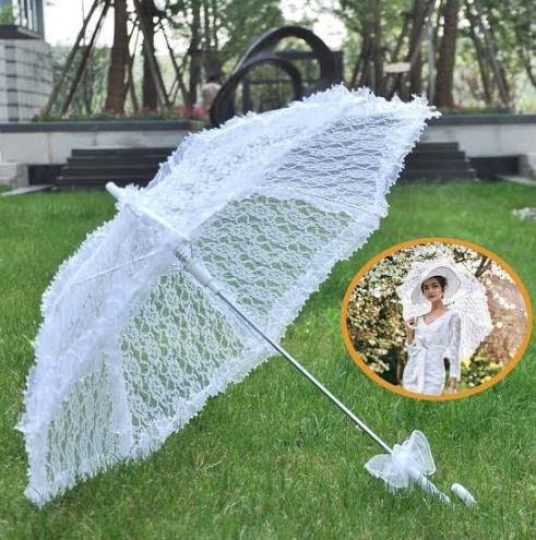 Bridal Bride White Lace Umbrella   Perfect for Wedding Photos