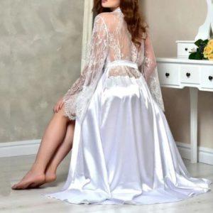 Beautiful White or Bridal Bride Robe | Stunning Lace Back