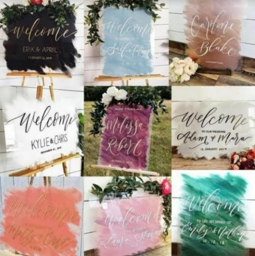 Personalised Wedding Sign | Perspex with Beautiful Paint of your choice | Customised Text
