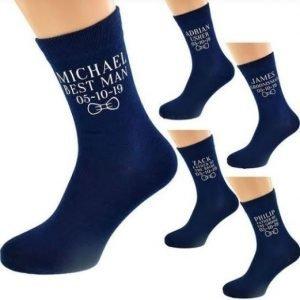 Groom, Bestman, Groomsman, Father Socks | Navy blue Wedding Socks