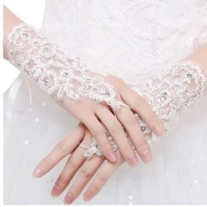 Wedding Bridal Lace Diamond Gloves | Fingerless | Bride Lace Gloves Accessories