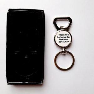Personalised Bottle Opener Keyring | Groom, Bestman, Groomsman Gift | Wedding Gift Favour