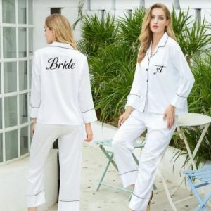 Personalised Pyjamas | Long or Short Two Piece Lingerie Set | Customised Lingerie | Honeymoon