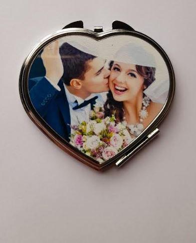 Customised Bridal Heart Compactum Make-up Mirror   Bridesmaid Gift