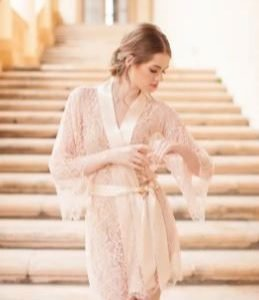 Stunning Lace Bridal Robe | Available in White, Black, Champagne | Bride, Maid of Honour, Bridesmaid