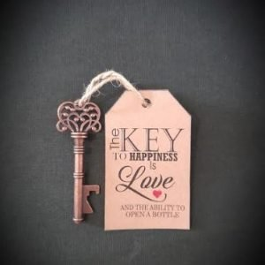 Wedding Gift Favour | Bottle Opener Key with a card | Can be Personalised with any text