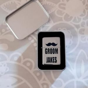Personalised Steel Lighter | With FREE Silver Tin Gift Box | Customised Groom, Bestman, Father, Groomsman Gift
