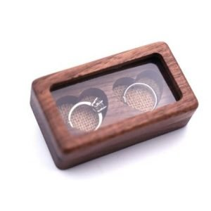 Wooden Wedding Ring Box | Heart shape engraved area for each ring | 2 ring compartment