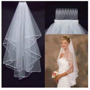 Stunning Cathedral Bridal Wedding Veil   Bride Veil with comb   White or Ivory   2 layered veil