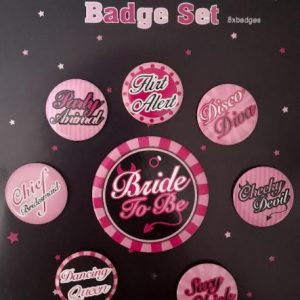 Hens Party | Bachelorette | Bride To Be Badge with 7 Fun Bridesmaid Badges