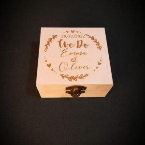 Personalised Square Wedding Ring Box | Customised Gift Box
