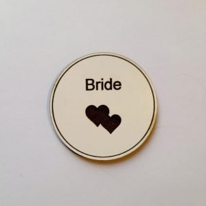 Wedding White Wooden Badges for woman | Ladies Wedding Roles